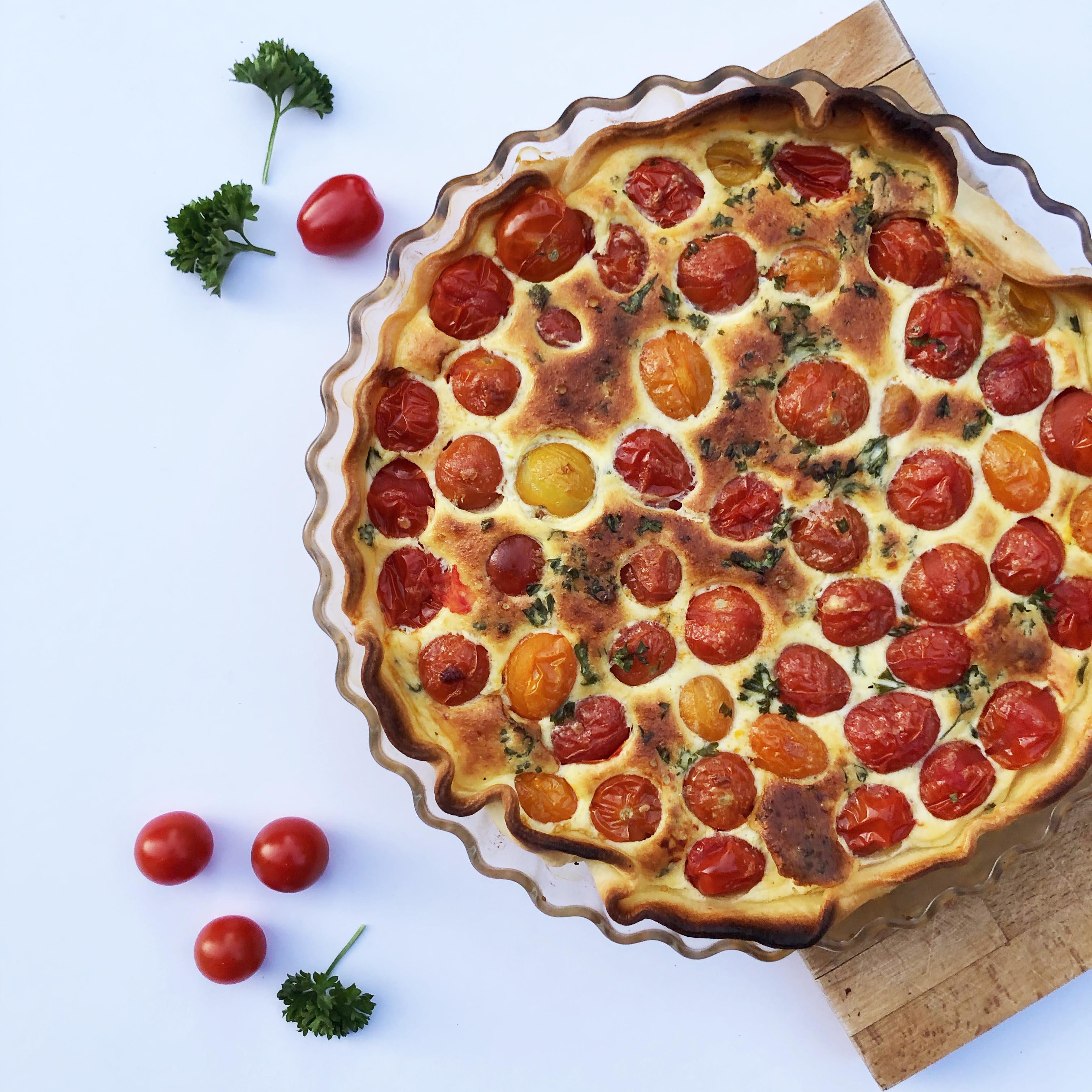 recettes végétariennes : tarte à la tomate cerise et au persil